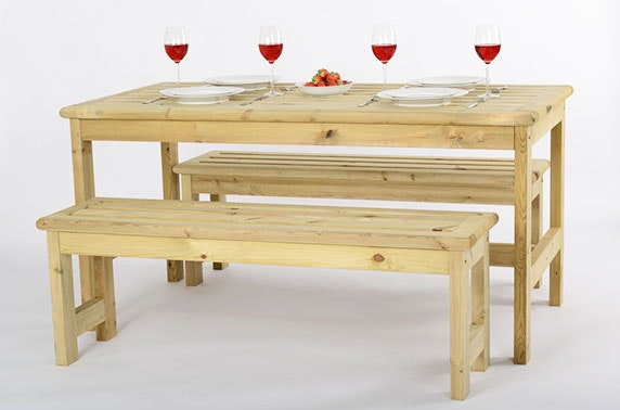 Scandinavian Wooden Garden Table & Bench Set – itison