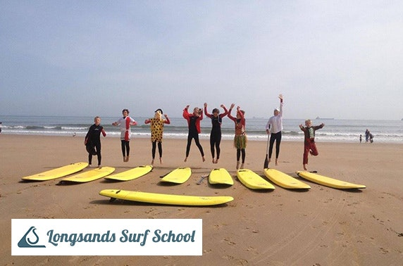 Longsands Surf School beginner surf lesson
