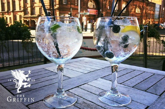 2 G&T's each and popcorn at The Griffin