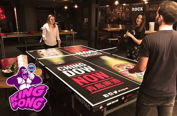Ping pong party with burgers & beers at Maggie Mays