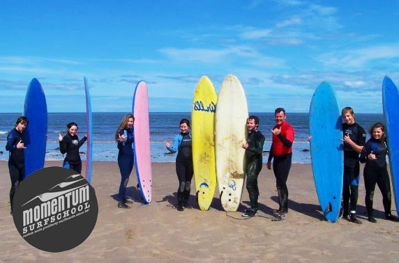 Surfing lessons, near Edinburgh