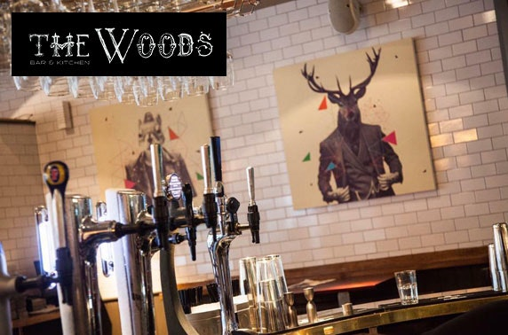 Pizzas, burgers & drinks at The Woods, City Centre