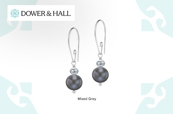 Dower & Hall double pearl drop earrings