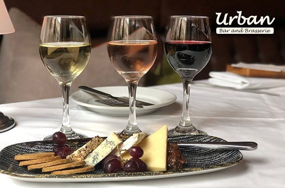 Wine flights & cheeseboard at Urban Bar & Brasserie