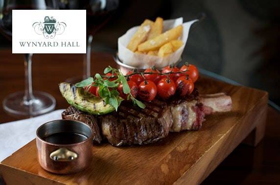 2 AA Rosette 4* Wynyard Hall dining & Prosecco