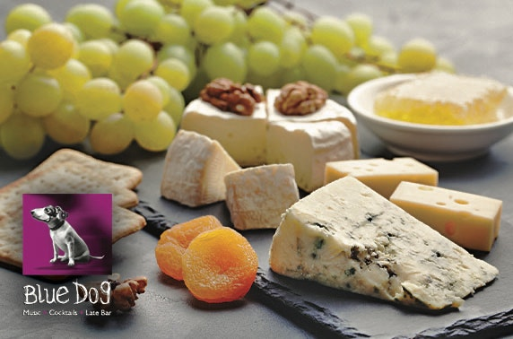 Blue Dog cheese board and cocktails or wine