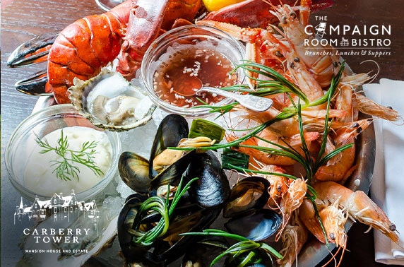 4* Carberry Tower seafood platter & Champagne