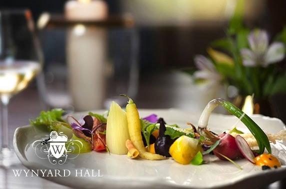 2 AA Rosette 4* Wynyard Hall dining & Prosecco