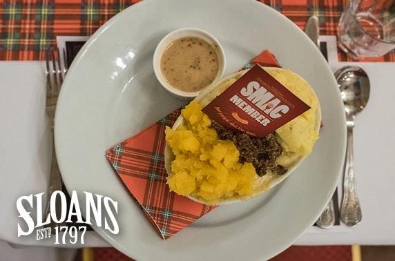 Burns Night Scottish Macaroni Appreciation Club, Sloans