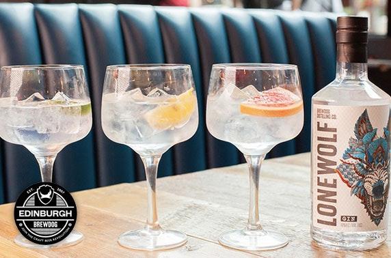 BrewDog Edinburgh gin flights & cheeseboard
